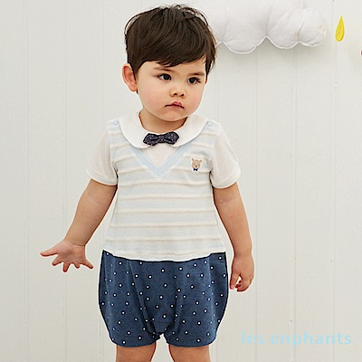 les enphants baby條紋小熊假二件式連身裝 麻花藍