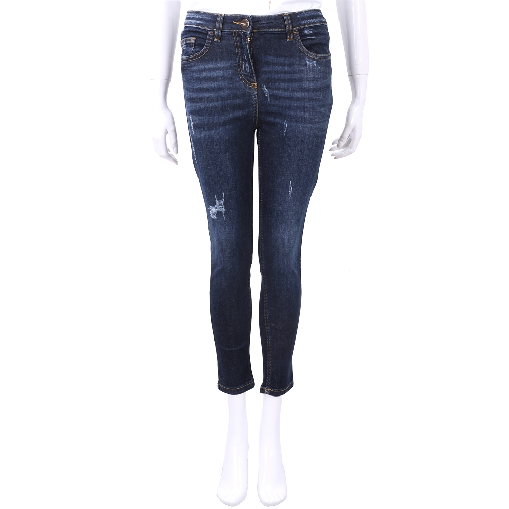 ELISABETTA FRANCHI 藍色微彈性刷破緊身牛仔褲