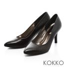 KOKKO- 時髦尖頭菱格壓紋真皮高跟鞋-百搭黑