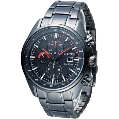 CITIZEN 星辰 征服極速光動能計時腕錶(CA0595-54E)-黑/45mm