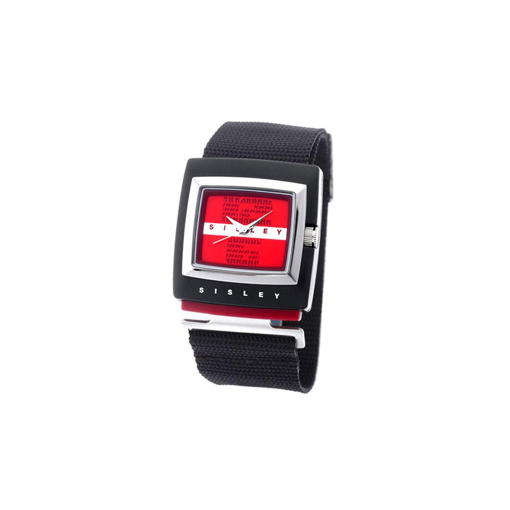 SISLEY 藝想空間特殊造型腕錶 (音波紅)