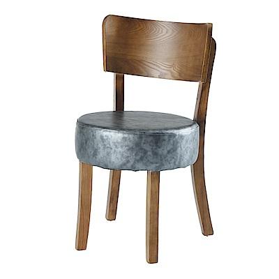 AS-卡爾灰色皮面餐椅-46x44x79cm