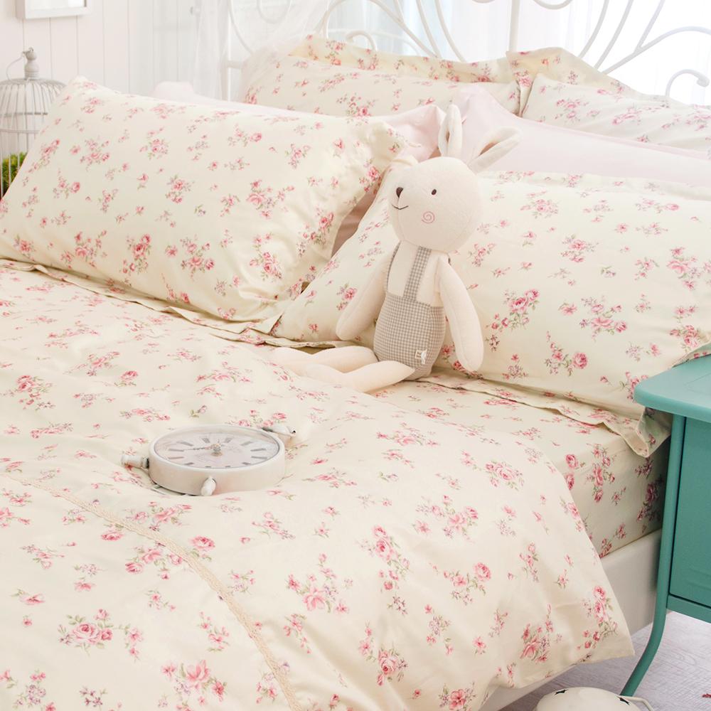 OLIVIA   桃樂絲  雙人床包歐式枕套三件組 緞織長絨棉
