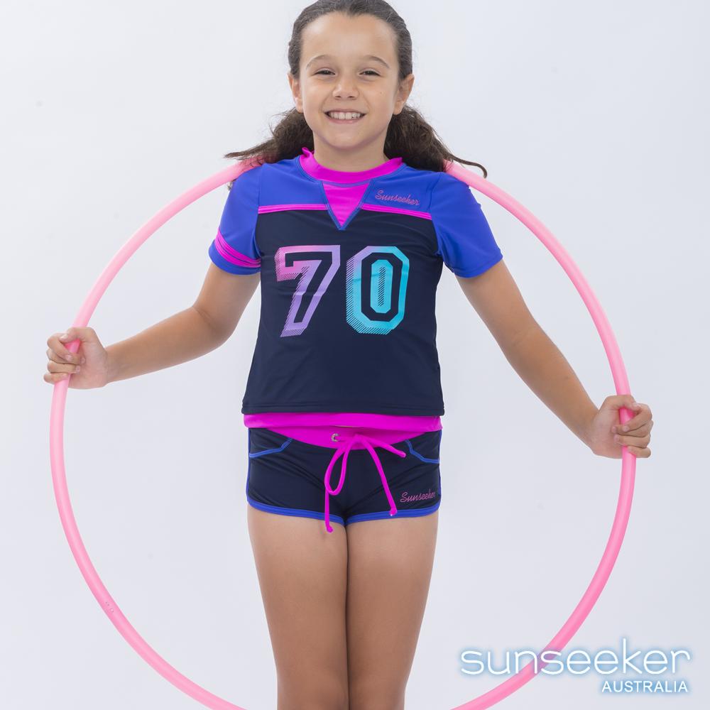 澳洲Sunseeker泳裝抗UV防曬短袖兩件式泳衣-大女童加大/寶藍