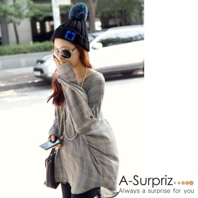 A-Surpriz 星星徽章反摺大毛球針織帽(黑)