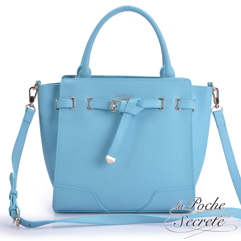 La Poche Secrete真皮 韓系時尚真皮扭結手提/肩背包 天空藍