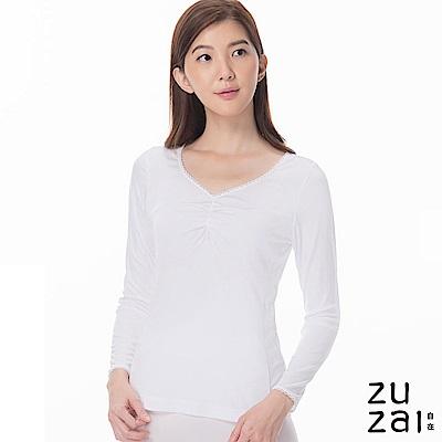 zuzai 自在發熱衣歸真系列女抓縐長袖保暖衣-白色