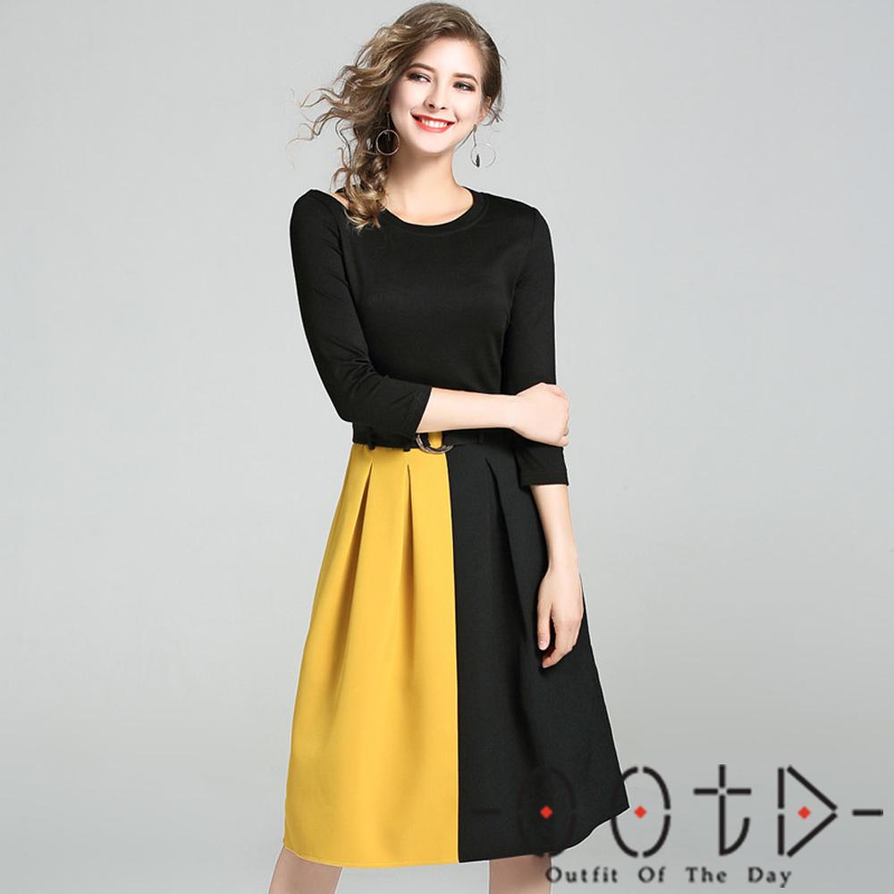 圓領單邊露肩撞色拼接七分袖洋裝 (黑色)-OOTD