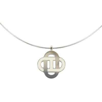 HERMES ISATIS 經典LOGO交錯飾品項鍊.銀/白
