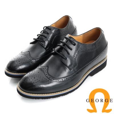 GEORGE 喬治-內增高系列 牛皮雕花牛津鞋皮鞋(男)-黑色