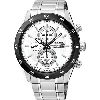 SEIKO精工 Criteria 零極限三眼計時腕錶(SSC535P1)-白x銀/44mm