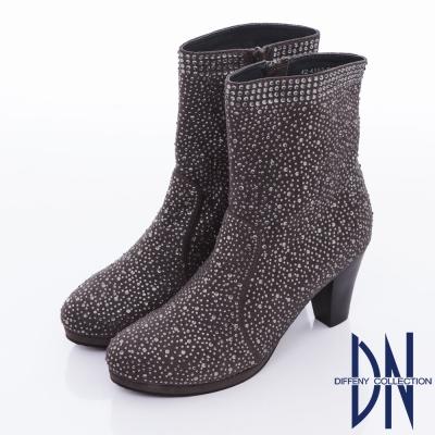 DN 時尚優雅 滿天繁星水鑽麂皮中筒靴 - 灰