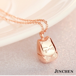 JINCHEN 白鋼可愛招財貓項鍊