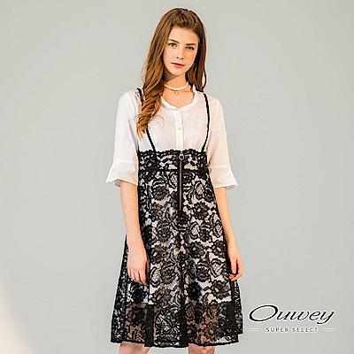 OUWEY歐薇 剪接蕾絲假兩件洋裝(黑)-動態show