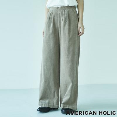 AMERICAN HOLIC 俐落壓摺絨面寬褲