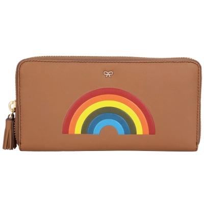 Anya Hindmarch Rainbow 彩虹皮革流蘇拉鍊長夾(棕色)