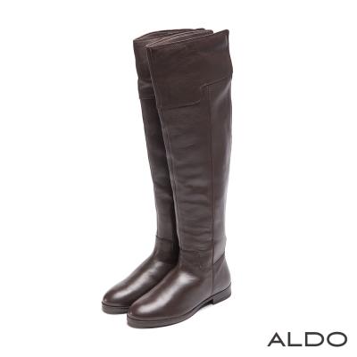 ALDO-歐式原色真皮彈性鬆緊貼腿修身長靴-深棕