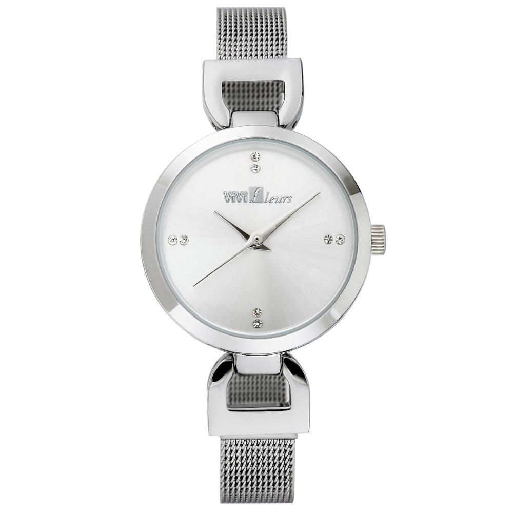 ViVi Fleurs 微感極簡素雅晶鑽時尚腕錶-銀/29mm