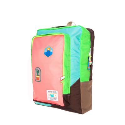 MOKUYOBI/Flyer Packs/L.A空運旅行必備多功能筆電電鏽章後背包-粉橘色