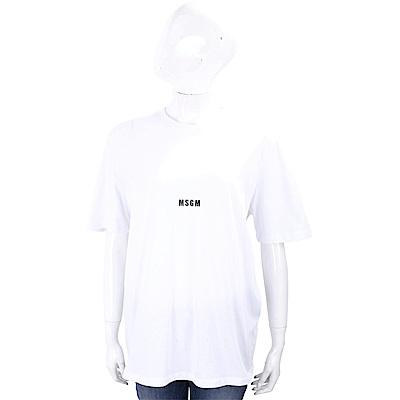 MSGM Micro Logo 純棉白色寬版T恤