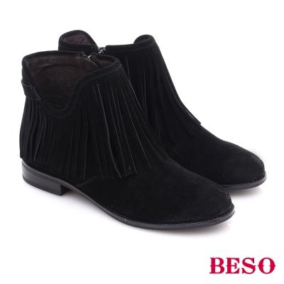 BESO 都會摩登女郎 絨面牛皮流蘇拉鍊短靴 黑色