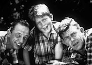 """Cast members from """"The Andy Griffith Show,"""" from left, Don Knotts as Deputy Barney Fife, Ron Howard as Opie Taylor and Andy Griffith as Sheriff Andy Taylor. (AP Photo/Viacom, file)"""
